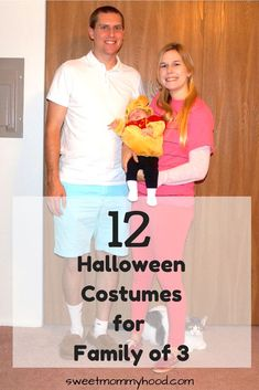 Creative ideas for Halloween costumes for family of 3. Great costumes for mom, dad and baby! Click through to get some great Halloween costume ideas or re-pin for later!
