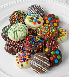 chocolate dipped oreo cookies  decorate with m's, colored chips, sprinkles,colored chocolate