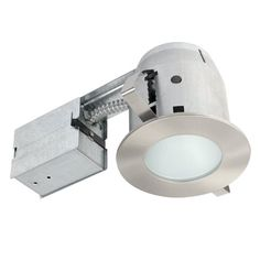 "Globe Electric 4"" Damp Rated Shower Recessed Lighting Kit Dimmable Downlight, Brushed Nickel Finish, Round Tempered Frosted Glass, Easy Install Push-N-Click Clips, 90664 - Globe Electric's 4"" Damp Rated Shower Recessed Lighting Kit with round tempered frosted glass and brushed nickel finish is the perfect way to brighten bathrooms with style. Designed with a water resistant seal to protect bulbs from humidity the pot light's housing and frosted glass trim are a per..."