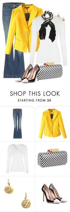 """Untitled #7034"" by lisa-holt ❤ liked on Polyvore featuring J Brand, Lulu Guinness, Sidney Garber, Gianvito Rossi and Chesca"