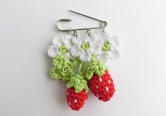 Strawberries Whimsical Brooch boutonniere. Crochet by goolgool