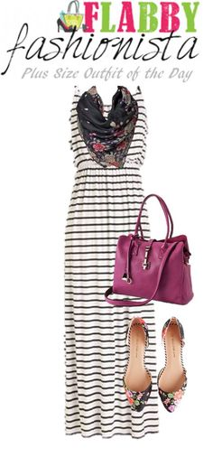 Look – Plus Size Outfit of the Day – Florals and Stripe Maxi Dress Curvy Girl Fashion, Plus Size Fashion, Womens Fashion, Work Fashion, Plus Size Dresses, Plus Size Outfits, Simple Outfits, Cute Outfits, Dress With Jean Jacket