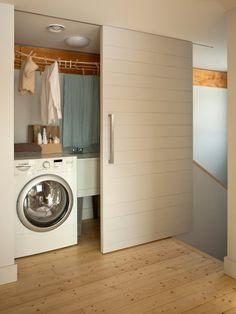 Have small laundry room? Got a boring laundry room? Need small laundry room design ideas? Laundry Room Doors, Basement Laundry, Small Laundry Rooms, Laundry Closet, Laundry Area, Laundry Station, Laundry Center, Sliding Door Design, Sliding Barn Door Hardware