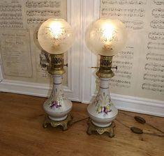 Large Pair Victorian French Porcelain Oil Lamps Converted to