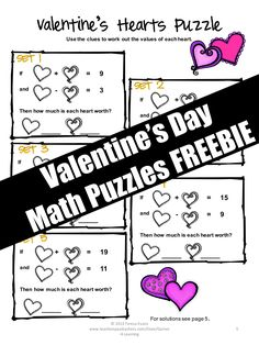 FREEBIES: Valentine's Day Math  Puzzles that the kiddos will LOVE!