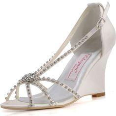 Elegantpark Women's MC-023 Open Toe High Heel Shoes Rhinestone Satin Bridal Wedding Wedge Sandals $58.95