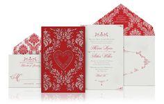 Valentine's Day Wedding Invitation in red by http://www.atelierisabey.com/