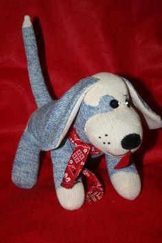 Handmade Blue Sock Monkey Puppy Dog