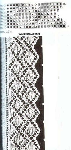 Manetes d'Or: Schemes Puntillas knitted shawls or whatever you want Lace Knitting Stitches, Lace Knitting Patterns, Knitting Charts, Lace Patterns, Loom Knitting, Knitting Designs, Hand Knitting, Stitch Patterns, Knit Edge