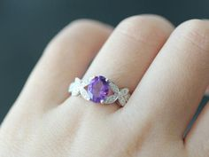Sterling Silver Princess Cut Amethyst /& .01 CT Diamond Ring 2.30 gr Size 6 to 9
