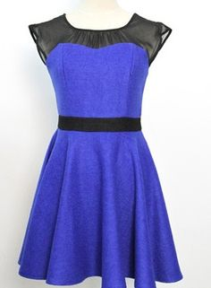 Sexy Blue Lace Tweed Round Neck Sleeveless A Line Dress . love this style with great quality Casual Dresses For Women, Dresses For Work, Dress Casual, Working Blue, Fashion Beauty, Womens Fashion, Types Of Dresses, Fashion Dresses, Dresses Dresses
