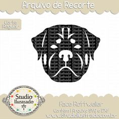Face Rotweiller, Dog Face Rotweiller, Dog, Face,Rotweiller, Cachorro, cachorrinho, rosto, cara, cabeça, head, pet, pet love, animal, farm,  fazenda, arquivo de recorte, corte regular, regular cut, svg, dxf, png,  Studio Ilustrado, Silhouette, cutting file, cutting, cricut, scan n cut.