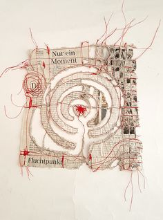 """""""Nur ein Moment"""" (just a moment) is the headline of this piece of newspaper. 20 x 20 cm, altered newspaper Collage Kunst, Collage Art, Textile Fiber Art, Textile Artists, Stitching On Paper, Fabric Manipulation, Embroidery Art, Fabric Art, Art Techniques"""