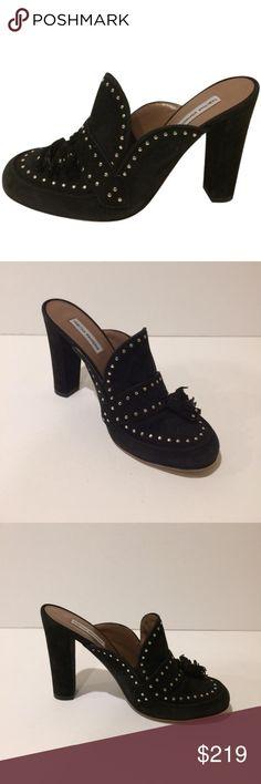 Tabitha Simmons Woman Tasseled Studded Suede Mules Size 37.5 F1NrCBNxaw