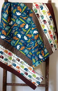 Baby Quilt Organic Modern Baby Quilt Safari Soiree by CoolSpool