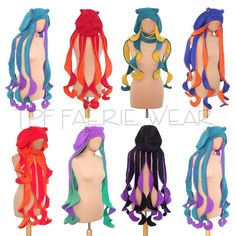 Items similar to Plain Fleece Octo-Hat. Medium thigh length tentacles on Etsy Kraken, Maquillage Halloween, Long Curly, Eye Color, Thighs, Super Cute, Medium, Trending Outfits, My Style