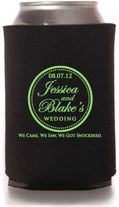 Vintage Wedding Can Coolers #wedding #koozies