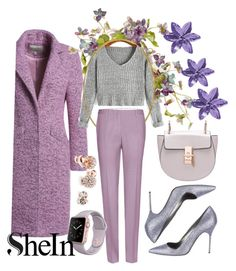 """Shein Grey crop sweater"" by mimami-70 ❤ liked on Polyvore featuring Miu Miu, Manolo Blahnik, GUESS and shein"