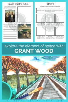 Learn about the element of space and basic one point perspective through an in depth study of artist Grant Wood. Printables book lists process art ideas and related free lessons at the Kitchen Table Classroom are all included! Elements Of Art Space, 6th Grade Art, Grade 3, Artist Grants, Grant Wood, Kids Art Class, Art Worksheets, Point Perspective, Principles Of Art