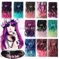"Synthetic Hair Clip In Hair Extensions Curly Wavy 24"" 60cm 110gram Rainbow 14 Colors Mix Color Hairpiece Accessories"