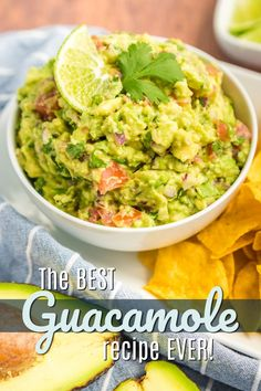 This truly is THE best guacamole EVER. A few fresh ingredients (plus our secret ingredient!) & you've got yourself the best guac in town! Best Appetizer Recipes, Yummy Appetizers, Mexican Food Recipes, New Recipes, Cooking Recipes, Favorite Recipes, Ethnic Recipes, Family Recipes, Best Guacamole Recipe