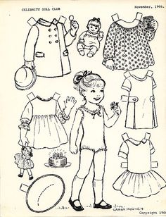 Black and white paper dolls