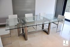 Modern dining room decor combines art and minimalism Glass Dining Room Table, Dining Table Chairs, Dining Furniture, Home Furniture, Luxury Dining Room, Dining Room Design, Stainless Steel Dining Table, Living Room Tv Unit Designs, Room Decor