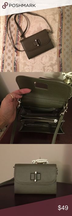 NWOT Ann Taylor mini crossbody turn lock bag. Ann Taylor turn lock mini crossbody bag with detachable, adjustable shoulder strap in khaki green pebbled leather. NWOT 98+ tax Reasonless offers welcome 😍!! Ann Taylor Bags Crossbody Bags