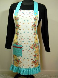 Tea Towel Apron Embellished by quiltn queen, via Flickr