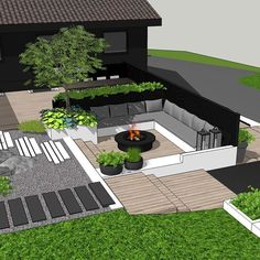 Gardens should be used year round! In Norway as well:-) Soft and warm sheep skins on the benches around the fire pit, hot chocolate, and of course some marshmallow roasting👌🏻👌🏻 Perfect weekend activity with family and friends, right? Modern Landscape Design, Modern Landscaping, Outdoor Landscaping, Backyard Garden Design, Backyard Patio, Banco Exterior, Outdoor Spaces, Outdoor Living, Fireplace Garden