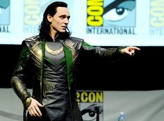 KNEEL! Tom Hiddleston cosplaying #Loki at the #SDCC (July 20, 2013) :D #TomHiddleston appears to be wearing his old Avengers' costume and hair. Thank you, #Marvel! Perfect birthday gift :)