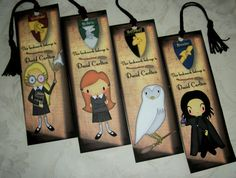 HARRY POTTER Bookmarks  Wizards  Set of 4 by PaintedByRenee, $14.00