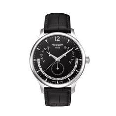 Tissot Tradition Perpetual Calendar Men's Chrono Quartz Black Dial Watch with Black Leather Strap Sport Chic, Tissot Mens Watch, Emporio Armani, Festina, Black Quartz, Vintage Watches For Men, Perpetual Calendar, Rolex Gmt, Luxury Watches