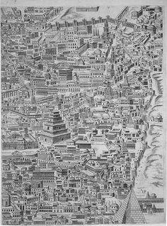 In 1551, Pirro Ligorio produced an engraving depicting a reconstruction of ancient Rome; this inventive map was printed by Jacopo Rossi in 1561. Pirro Ligorio was an architect, a painter, a counterfeiter and a scholar who studied and researched the ancient ruins of the city of Rome as well as...