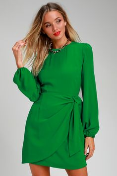 09b2274b48 Believe It or Knot Green Long Sleeve Tie-Front Skater Dress Green Dresses  For Sale