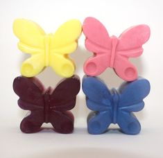 This is a set of four adorable butterfly soaps. Each soap is about an ounce and a half and theyre colored and scented to your specifications.    My