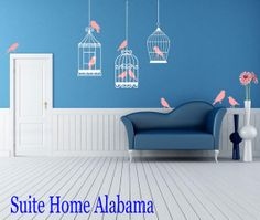 Beautiful Birdcages Wall Decal with Birds by SuiteHomeAlabama