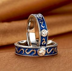 Vintage Dark Blue with Love 925 Sterling Silver Promise Ring for Couples. #jeulia #couplerings #fashionjewelry.