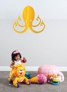 Playroom Octopus Chandelier! Chandelier By NK Yellow Octopus Chandelier.