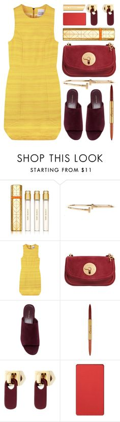 """""""summer night out"""" by foundlostme ❤ liked on Polyvore featuring Tory Burch, See by Chloé, Mansur Gavriel, Bésame, Marc by Marc Jacobs, Inglot, Bare Escentuals, yellow, mules and girlsnightout"""