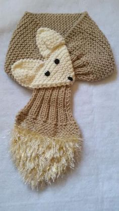 LACE BEIGE Fox Hand Knit scarf  neck warmer One size fits most Made with  acrylic yarn. The scarf is very cute warm and nice Size Kids length  width   5 Size ... bc8f982ce6
