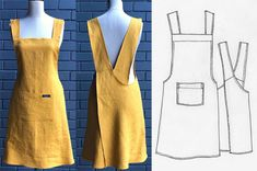 Linen Dress Pattern, Apron Pattern Free, Apron Patterns, Clothing Patterns, Sewing Aprons, Sewing Clothes, Diy Clothes, Free Printable Sewing Patterns, Japanese Apron