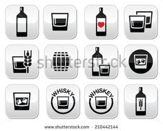 Whisky or Whiskey alcohol buttons set  by RedKoala #Irish #Scottish #drink
