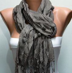 WAS 19 NOW 15  TaupeGray   Shawl Scarf  - by fatwoman, $15.00