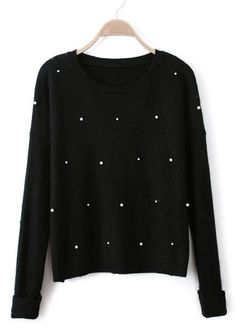 Black Long Sleeve Pearls Knit Pullover Sweater #SheInside