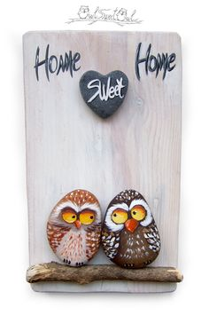 Arte de buhos hechos a mano única 'Home Sweet Home'