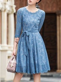 Blue Pierced Sleeve Crew Neck Lace Midi Dress with Belt Lace Midi Dress, Belted Dress, Dress Skirt, Modest Fashion, Women's Fashion Dresses, Knee Length Dresses, Dresses With Sleeves, Western Dresses For Women, Brocade Dresses