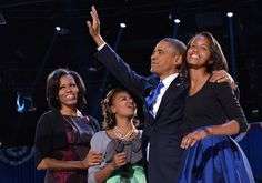 BARACK OBAMA & FAMILY ACCEPTING RE-ELECTION