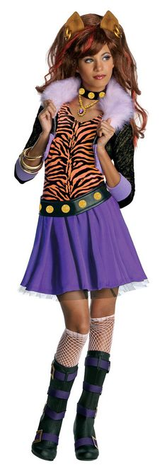 Monster High - Clawdeen Wolf Child Costume Includes jacket with attached shirt, skirt, belt and choker. Does not include wig, headband, other jewelry, knee highs or boots. This is an officially licens