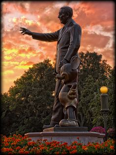 Walt Disney & Mickey Mouse at sunset